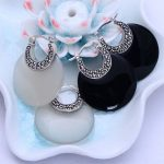 925 sterling silver <b>jewelry</b> silver inlaid Onyx Black / White Opal lady xh021046