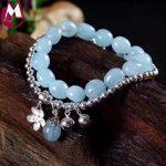 8mm Aquamarine Long Chain Natural Stone 925 Sterling <b>Silver</b> Jewelry Round Beads Bangle Handmade Enamel Flower <b>Bracelet</b> For Women