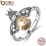 BAMOER 100% Authentic 925 Sterling Silver Orange Wing Animal Bee Finger Ring for Woman Sterling Silver <b>Jewelry</b> Christmas SCR025