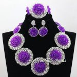 <b>Silver</b> Plated Womens Nigerian African Dubi Bridal Beads Wedding Jewelry Set Beaded Party Costume Jewelry Sets hx120