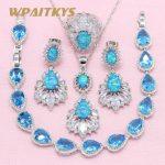 Exquisite Water Drop Blue Create Opal 925 <b>Silver</b> Jewelry Sets For Women Wedding Necklace Earrings Ring <b>Bracelet</b> Free Box