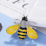 Newest Unique <b>Handmade</b> bee Brooch insect <b>Jewelry</b> silver with with black and yellow Enamel Pet Lovers Gift Idea free ship