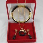 Prett Lovely Women's Wedding lady's 7.5″ black gem bracelet, earings and dragon pendant best gift for lady's <b>jewelry</b> sets