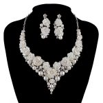 bridal <b>Wedding</b> pearl <b>Jewelry</b> Sets fashion porcelain flower bright AB color Rhinestone necklace earrings set silver crystal