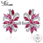 JewelryPalace Pegion Blood Red Ruby Luxury Engagement Wedding <b>Earrings</b> Clip Solid 925 Sterling Solid <b>Silver</b> Gift Charm Jewelry