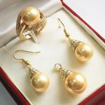 noble new jewelry golden 18KGP + 12mm shell pearl pendant, <b>earring</b>, , ring set