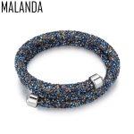 MALANDA Brand Double Circle Charm Bracelet Crystal From Swarovski Bracelets Bangles For Women Wedding <b>Jewelry</b> Cuff Bangle Gift