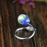 L&P Fashion Ring Pearl <b>Jewelry</b> Cloisonne Flower Rings Natural Freshwater Pearl 925 <b>Sterling</b> <b>Silver</b> <b>Jewelry</b> For Women Gift