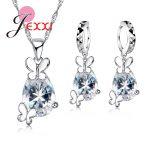 Lovely Butterfly CZ Crystal Wedding Jewelry Set Gem Jewelry Set Drop Water Pendant Necklace <b>Earrings</b> Set925 Sterling <b>Silver</b>