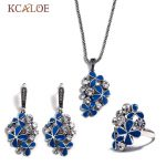 KCALOE <b>Wedding</b> Blue Enamel Flowers Jewellery Set Vintage Antique Silver Color Cubic Zirconia Necklace <b>Jewelry</b> Sets For Women
