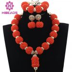 Trendy Bridal Sets Wedding Coral <b>Handmade</b> Coral Beaded Balls Pendant Necklace Set African <b>Jewelry</b> Sets Gif Free Shipping ABH178