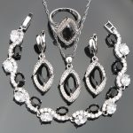 Black Zircon Silver 925 <b>Jewelry</b> Sets Wedding Women White Stones Bracelets Earrings <b>Necklace</b> Rings Set of Jewelery Gift Box