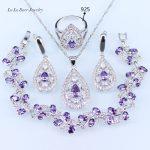 L&B Purple Cubic Zirconia <b>Silver</b> Color Jewelry Sets For Women Drop Earrings/<b>Bracelet</b>/Necklace/Pendant/Ring Free Box