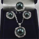 Prett Lovely Women's Wedding Wedding <b>Jewelry</b> 10mm &14mm Black Necklace Earrings Ring Set