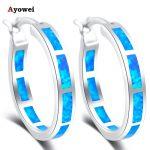 925 Sterling silver <b>wedding</b> gift Round earrings Blue Fire Opal Silver Hoop Earrings Fashion <b>Jewelry</b> SE33A