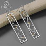 Lotus Fun Real 925 <b>Sterling</b> <b>Silver</b> Handmade Fine <b>Jewelry</b> Oriental Element Window Decoration Paper-cut Design Dangle Earrings