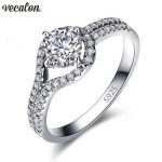 Vecalon <b>Handmade</b> Cross Promise Ring 925 sterling silver 5A Zircon Cz Engagement Wedding Band rings for women <b>Jewelry</b> best Gift