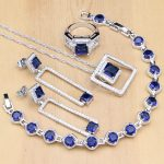 Square <b>Silver</b> 925 Jewelry Sets Blue Stone White CZ Beads Coustome For Women Earrings/Pendant/Rings/<b>Bracelet</b>/Necklace Set