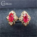 Vintage <b>silver</b> ruby stud earring for wedding natural marquise cut ruby earring rose gold color <b>silver</b> ruby <b>jewelry</b> gift for girl