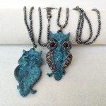 4 Strands Hematite beads Chains necklace,Owl <b>Antique</b> Bronze Charm,Pave Crystal Rhinestone Pendant women <b>Jewelry</b> necklaces NK284