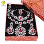 Bridal Jewelry Sets <b>Silver</b> Plated Jewelry Set Trendy Necklace Earrings <b>Bracelet</b> Ring Set For Women Dubai Jewelry Set+Gift Boxes