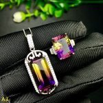 KJJEAXCMY Boutique jewels 925 pure <b>silver</b> inlaid purple yellow crystal female pendant pendant ring 2 sets of <b>silver</b> color.