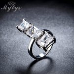 Mytys Fashion High Level Crystal Square Prongs Setting 3 Crystal Line White Gold Color Vougue <b>Jewelry</b> <b>Accessories</b> R1108