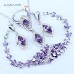 L&B Best Birthday Gift CZ Elegant Design Austria Crystal Stone Purple 4 Piece 925 Sterling Silver <b>Jewelry</b> Sets For Women