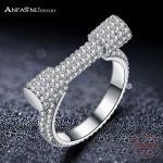ANFASNI Top Quality 925 Sterling Silver Full Crystals Horseshoe Rings For Women <b>Wedding</b> Engagement <b>Jewelry</b> Gift CGSRI0043-B