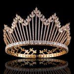 Hot Sale Cubic Zirconia <b>Wedding</b> Bridal Bridesmaid Tiara Crown Headband Gold Color Crystal Rhinestone Party <b>Jewelry</b>