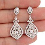 BELLA Fashion 925 Sterling Silver Tear Drop Bridal Earrings Cubic Zircon Dangle Earrings For <b>Wedding</b> Bridesmaid Party <b>Jewelry</b>