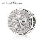 ATHENAIE 925 Sterling <b>Silver</b> Pave Clear CZ Flower Charm Bead Fit <b>Bracelets</b> Jewelry Gift