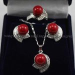 Women's Wedding Red South Sea Shell Pearl Earring Ring & Necklace Pendant Set Bridal wide wa brinco