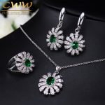CWWZircons Lovely Flower CZ Stone And Green Crystal Necklace Earring Ring Set <b>Fashion</b> 925 Sterling Silver <b>Jewelry</b> For Women T282