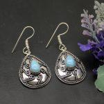 <b>Handmade</b> Magic 925 Sterling Silver Natural Blue Larimar Dangle Earring Women <b>Jewelry</b> Free Shipping 2 INCH TF331