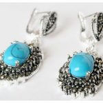 Vintage Blue Stone 925 Sterling <b>Silver</b> Marcasite Ring (#7-10) pendant and <b>earrings</b> sets 07