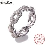 Vecalon Luxury <b>Jewelry</b> 100% Soild 925 Sterling Silver ring 5A Zircon Cz Chain Shape Engagement <b>wedding</b> Band rings for women men
