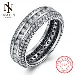 INALIS Fashion <b>Jewelry</b> Luxury CZ Crystals 925 Sterling Sliver Wedding Female Round Rings <b>Accessories</b> Gift for Women Lady