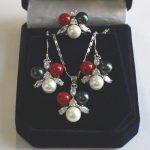 Prett Lovely for women sterling-silver-jew Wedding New Design 8mm White/Pink Shell Pearl Earring Pendant Ring #6 7/8/9 Set