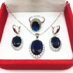 Montana Blue color White Zircon Jewelry Sets 925 <b>Silver</b> Earrings/Pendant/Necklace/Rings Size 6/7/8/9 For Women Free shipping