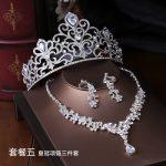 Crown famous brand 3 pieces Headwear + earrings + <b>necklace</b> bride lace headdress <b>jewelry</b> sets Korean wedding girlfriend gift