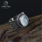 Lotus Fun Real 925 Sterling Silver Natural Chalcedony Stone <b>Handmade</b> Creative Designer Fine <b>Jewelry</b> Vintage Female Rings Bijoux
