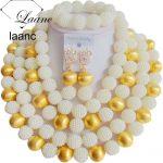 Brand Laanc Big <b>Necklace</b> Bridal Imitation Pearl <b>Jewelry</b> Set Nigerian Wedding African Beads Dubai AL188