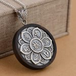 FNJ 925 Silver Buddha Pendant New Fashion Ebony wood 100% Pure S925 Solid Thai Silver Pendants for Women Men <b>Jewelry</b> <b>Making</b>