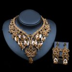 LAN PALACE turkish <b>wedding</b> <b>jewelry</b> sets Glass Rhinestone for bridal gold color necklace and earrings six colors free shipping