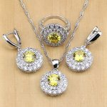 Natural Gold Cubic Zirconia 925 Sterling Silver Bridal <b>Jewelry</b> Sets Women Wedding <b>Accessories</b> Earrings/Pendant/Necklace/Rings