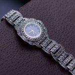 MetJakt Pure Handmade Vintage Zircon Bracelet Watch Solid 925 <b>Sterling</b> <b>Silver</b> Bracelet for Women's Thai <b>Silver</b> <b>Jewelry</b>