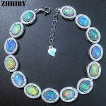 ZHHIRY Women Natural Opal Gem Bracelet Genuine Solid 925 <b>Sterling</b> <b>Silver</b> White Fire Color Precious Stone Fine <b>Jewelry</b>