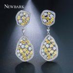 Newbark Luxury Drop Earrings Yellow Crystal Long Big Dangle Earrings With Cubic Zirconia Paved Fashion Female <b>Wedding</b> <b>Jewelry</b>