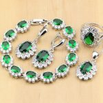 925 Silver Bridal <b>Jewelry</b> Green CZ White Crystal <b>Jewelry</b> Sets For Women Decoration Earrings/Pendant/<b>Necklace</b>/Rings/Bracelet